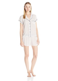 Tommy Hilfiger Women's Button Front Woven Pajama Shirt and Short