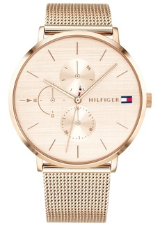 Tommy Hilfiger Women's Carnation Gold-Tone Stainless Steel Mesh Bracelet Watch 40mm Created for Macy's