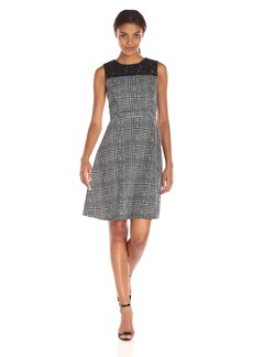 Tommy Hilfiger Women's Charles Plaid Detailed Scuba Fit and Flare Dress