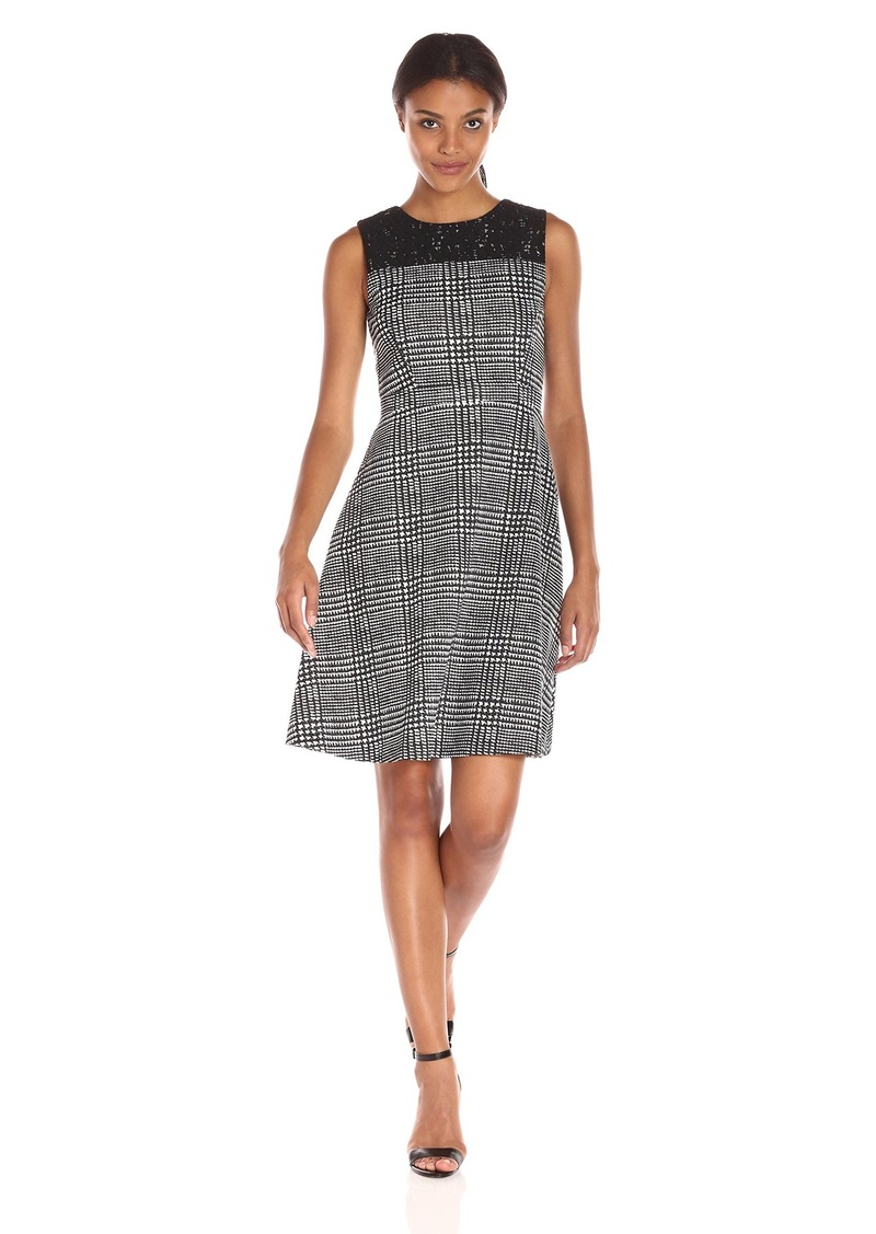 Tommy Hilfiger Women's Charles Plaid Scuba Fit and Flare