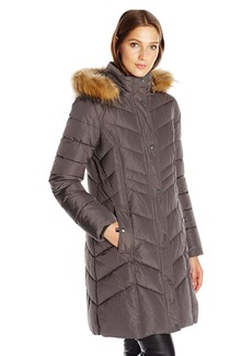 Tommy Hilfiger Women's Chevron Slimming Quilt Detail 3/4 Length Coat With Faux Fur Hood  XS