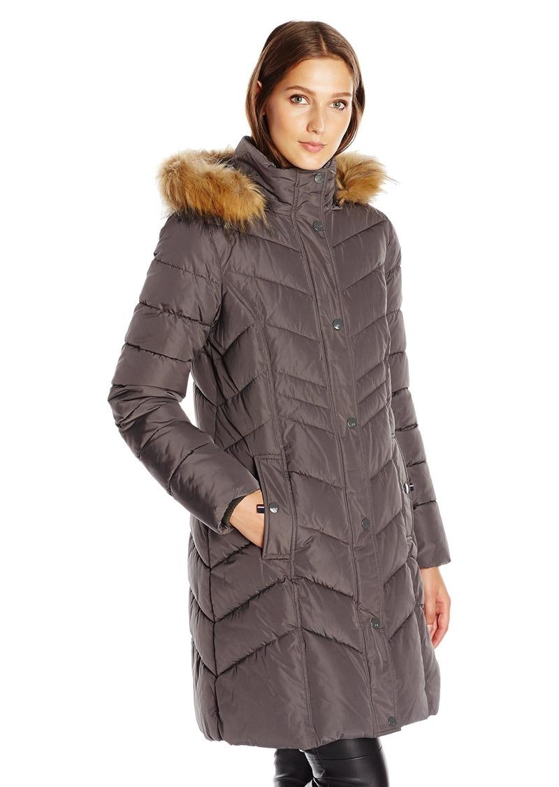 0e6d5d4993 Tommy Hilfiger Women's Chevron Slimming Quilt Detail 3/4 Length Coat with Faux  Fur Hood