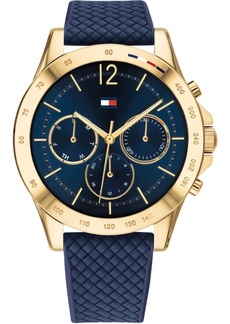 Tommy Hilfiger Women's Chronograph Navy Silicone Strap Watch 38mm, Created for Macy's