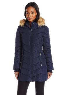 Tommy Hilfiger Women's Classic Chevron Down Coat With Faux Fur Trim Hood
