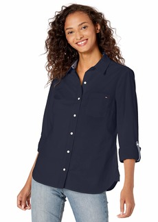 Tommy Hilfiger Women's Classic Long Sleeve Roll Tab Button Down Shirt (Standard and Plus Size)