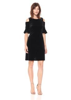 Tommy Hilfiger Women's Cold Shoulder All Over Velvet Dress With Bell Sleeve