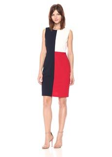 Tommy Hilfiger Women's Color Block Sleeveless Scuba Crepe Dress