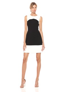Tommy Hilfiger Women's Color Block Sleevles Dress Black/Ivory