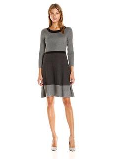 Tommy Hilfiger Women's Color Block Sweater Dress Heather-Charcoal-Black L