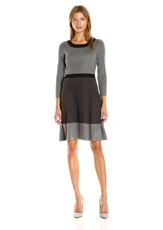 Tommy Hilfiger Women's Color Block Sweater Dress Heather-Charcoal-Black XL