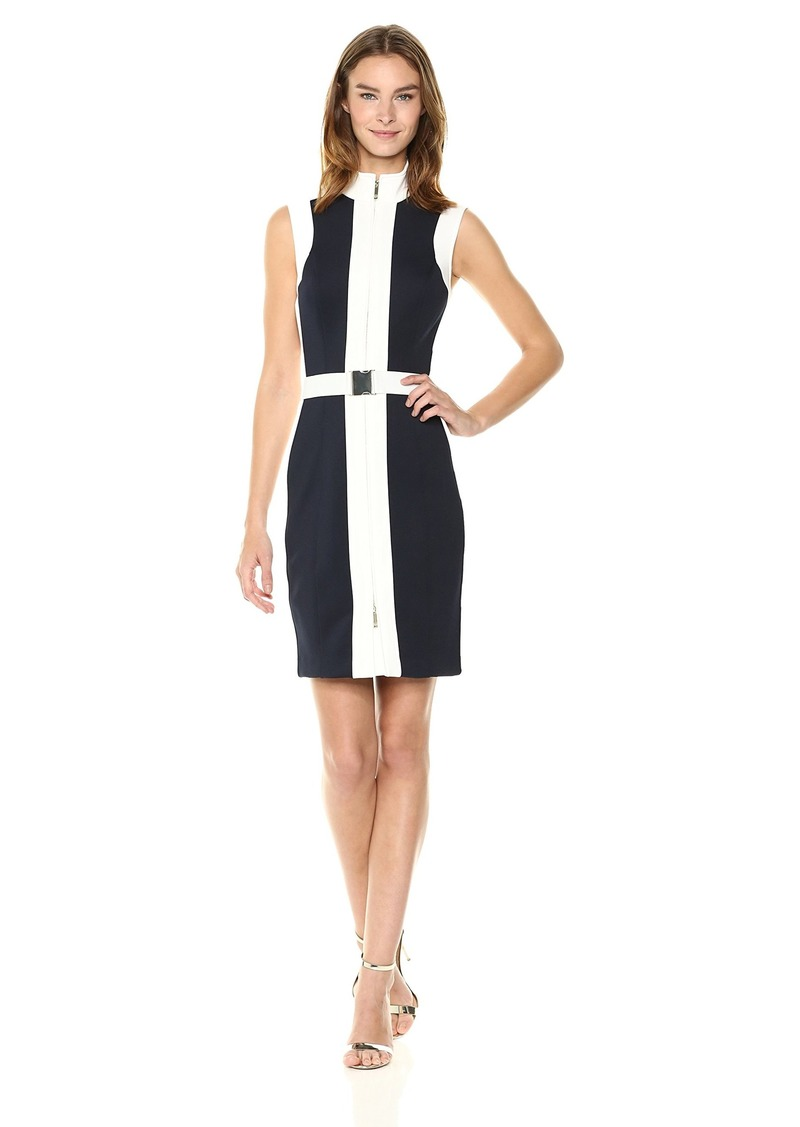 Tommy Hilfiger Women's Colorblock Scuba Zip Up Dress