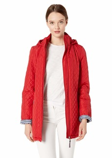 Tommy Hilfiger Women's Combination Diamond Quilt Coat with Hood  L