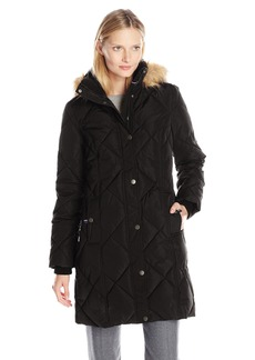 Tommy Hilfiger Women's Diamond Quilted Down Coat with Faux Fur Trim Hood