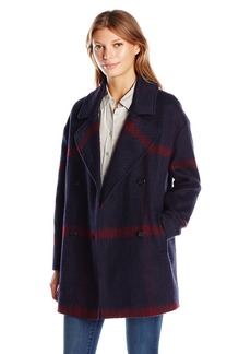 Tommy Hilfiger Women's Double Breased Oversized Plaid Wool Coat Blue/Red L