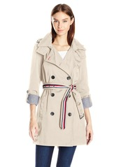 Tommy Hilfiger Women's Double Breasted Coatorak' (Trench Coat/Anorak Jacket) with Removable Hood  XL