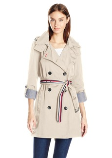 Tommy Hilfiger Women's Double Breasted 'Trenchorak' (Trench/Anorak) w/ Removable Hood  L