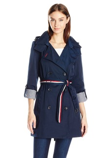 Tommy Hilfiger Women's Double Breasted 'Trenchorak' (Trench/Anorak) w/ Removable Hood  XS