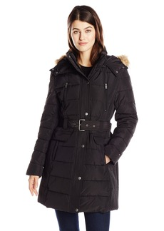 Tommy Hilfiger Women's Down Alternative Coat with Faux Fur Trim Hood and Striped Belt