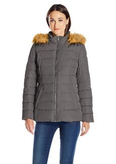 Tommy Hilfiger Women's Down Alternative Coat with Faux Fur Trim Hood  L