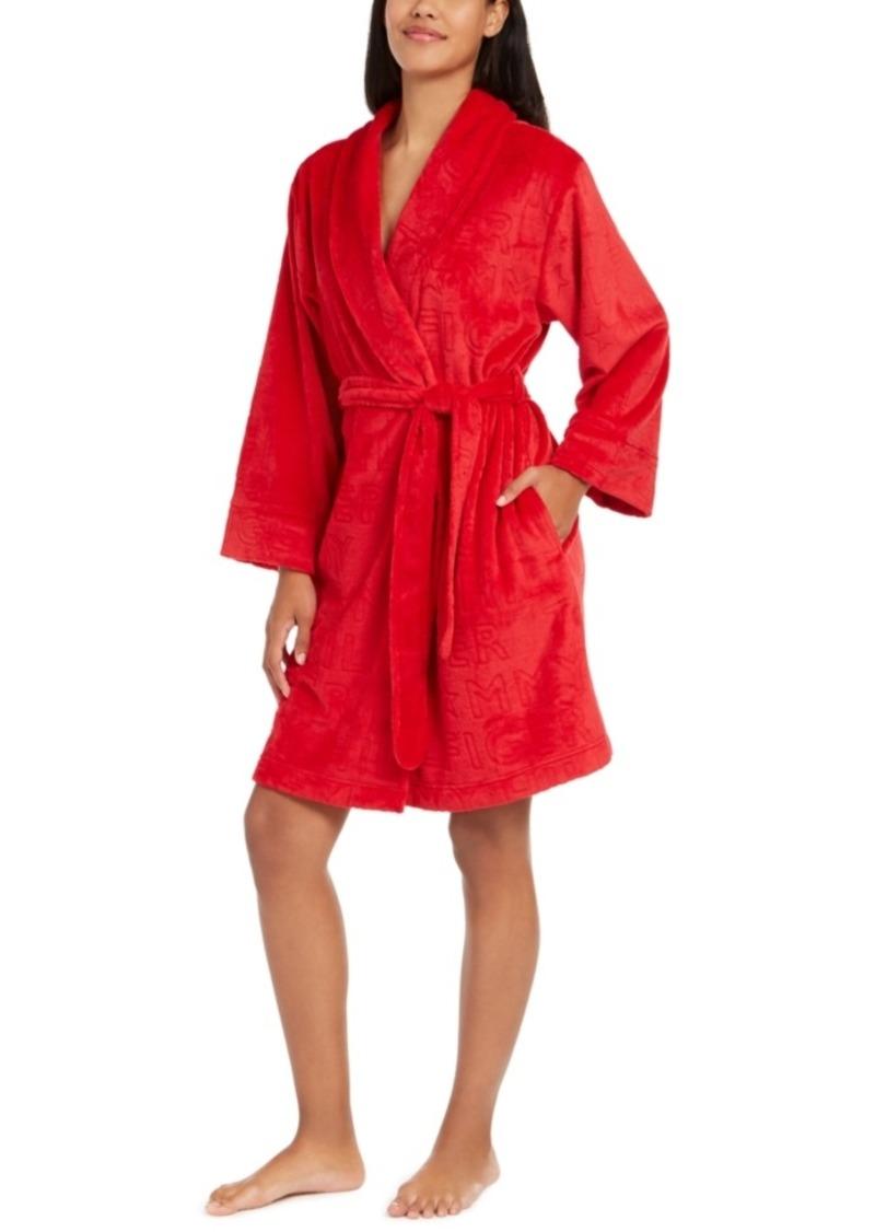 Tommy Hilfiger Women's Embossed Logo Plush Robe