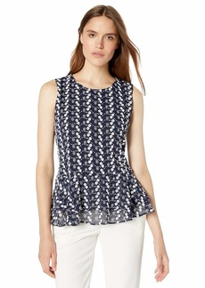 Tommy Hilfiger Women's Embroidered Lace Peplum Sleeveless Top
