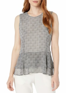 Tommy Hilfiger Women's Embroidered Peplum Sleeveless Top
