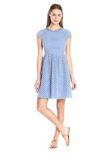 Tommy Hilfiger Women's Eyelit Cap Sleeve Fit and Flare Dress Cornflower/Ivory