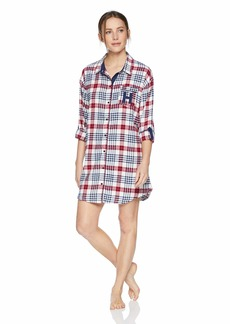 Tommy Hilfiger Women's Flannel Sleepshirt Nightshirt Pajama Dress Pj Sweet Dreams Plaid egret White S