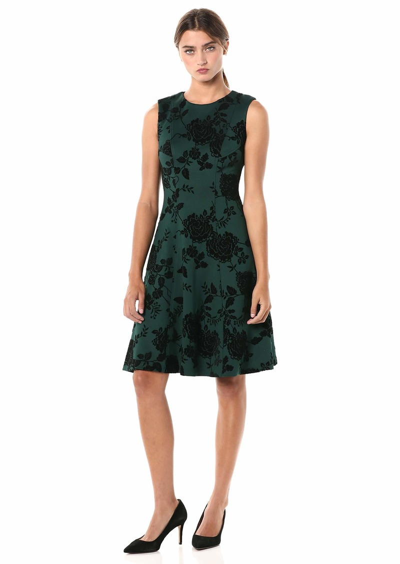 Tommy Hilfiger Women's Flocked Scuba Fit and Flare