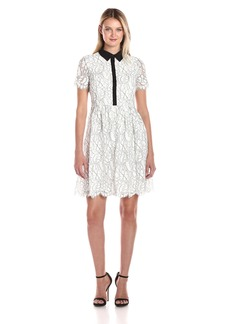 Tommy Hilfiger Women's Floral Outline Lace Shirt Dress