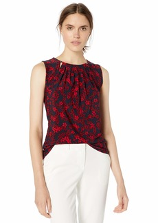 Tommy Hilfiger Women's Floral Printed Bead Neck Sleeveless Knit Top