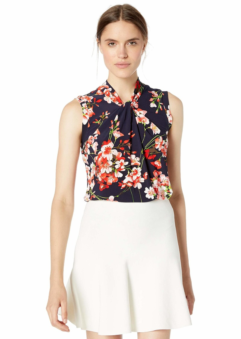 Tommy Hilfiger Women's Floral Printed Knot Neck Sleeveless Knit Top