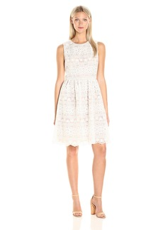 Tommy Hilfiger Women's Floral Stripe Embroidered Fit and Flare Dress