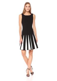 Tommy Hilfiger Women's Godet Bi-Stretch Sleeveless Fit and Flare Dress Black/Ivory