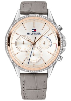 Tommy Hilfiger Women's Gray Leather Strap Watch 38mm, Created for Macy's