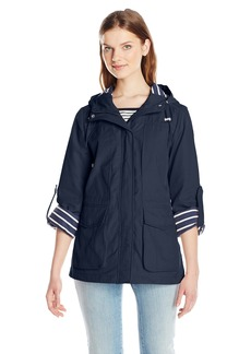 Tommy Hilfiger Women's Hampton Twill Nautical Anorak with Stripe Lining