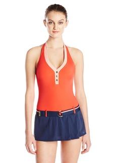 Tommy Hilfiger Women's Hardware Solids Halter Swim Dress