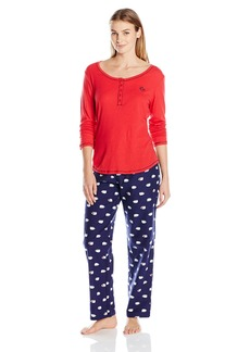 Tommy Hilfiger Women's Henley Top and Flannel Pant Bottom Pajama Set Pj  XS