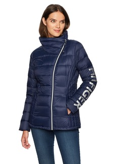 Tommy Hilfiger Women's Hilfiger Logo Asymetrical Zip Active Packable Down Coat  Extra Small