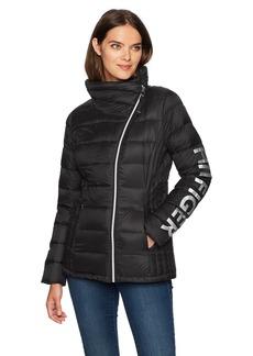 Tommy Hilfiger Women's Hilfiger Logo Asymmetrical Zip Active Packable Down Coat  Extra Large