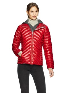 Tommy Hilfiger Women's Hilfiger Logo Short Packable Down Jacket with Zipout Fleece Hood  Extra Small