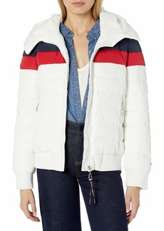 Tommy Hilfiger Women's Iconic Hooded Quilted Bomber Puffer Jacket  S