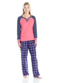 Tommy Hilfiger Women's Henley Top and Flannel Pant Pajama Set Pj