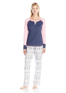 Tommy Hilfiger Women's Knit Split Neck Henley Top and Flannel Pant