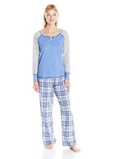 Tommy Hilfiger Women's Henley Top and Flannel Pant Bottom Pajama Set PJ  XL