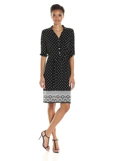 Tommy Hilfiger Women's Lace Border Print Matte Jersey Shirt Dress