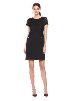 Tommy Hilfiger Women's Short Sleeve Scuba Crepe Dress