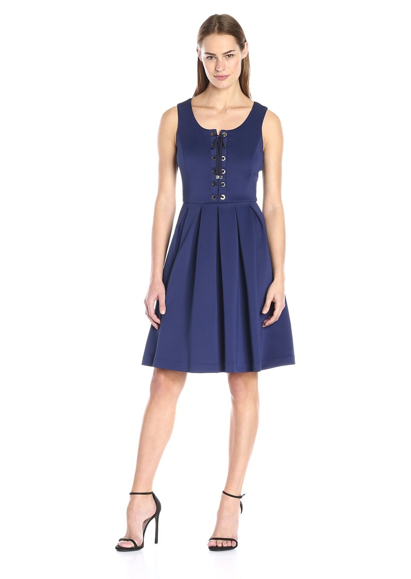 Tommy Hilfiger Women's Lace up Front Fit and Flare Dress