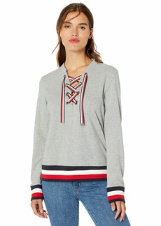 Tommy Hilfiger Women's Lace Up Top with Global Hem  M