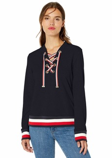 Tommy Hilfiger Women's Lace Up Top with Global Hem Sky captain L